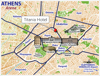 Hotels Athens, Map